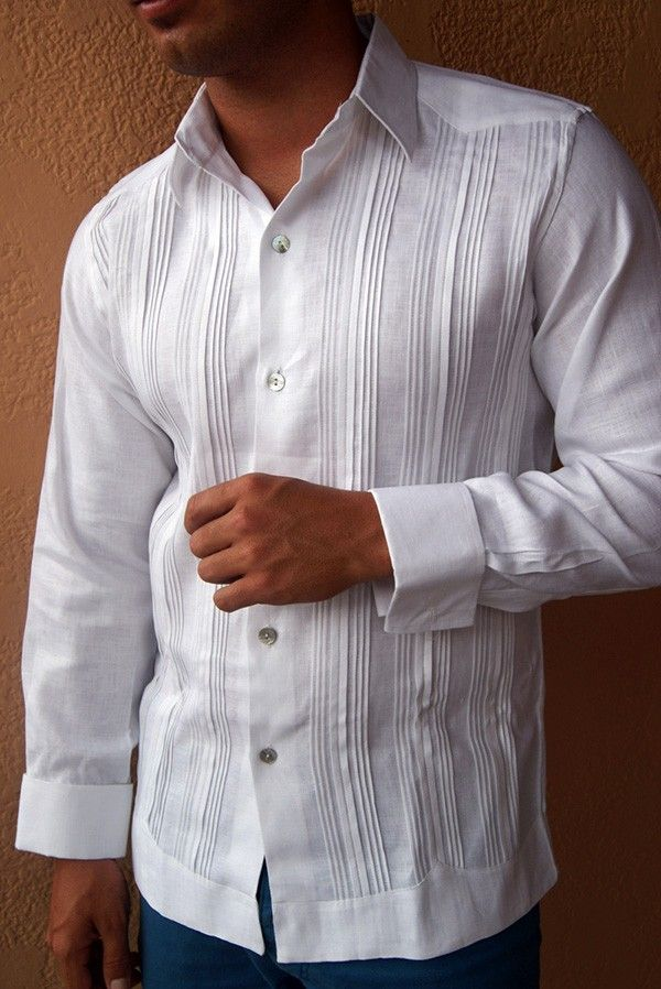 Guayabera Dress Shirt Pleated fly front, French Cuff. - Premium Italian Linen Shirt. Guayabera Style Pleats ( Tucks ) design. These Mexican wedding shirts  are long sleeves with French cuffs. DO NOT come with cuff links.Dry Clean for best result.A classic an sublimely soft  Linen.Availability is subject to change. Ask for colors. Allow 2 weeks to be delivery.Manufacture in Mexico By GuayaberasCubanas.