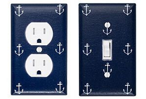 Anchor Light Switch Plate & Outlet Cover SET / Nautical Nursery Decor / Boys Girls Room / Out to Sea Navy Blue Michael Miller