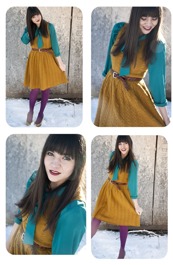 Another blouse under dress look. Sarah looks so beautiful in these colors!