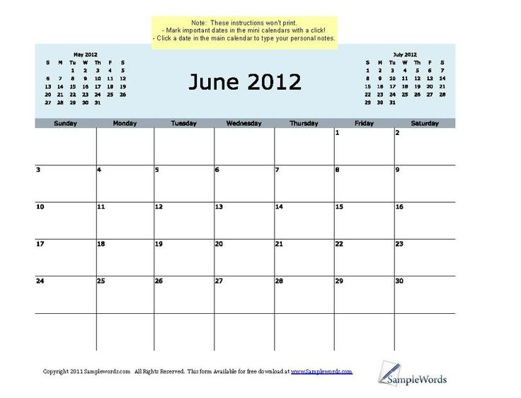 June calendar 2012