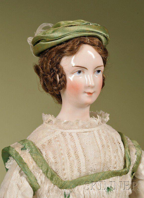 269: Rare KPM China Lady with Wig, Germany, c. 1845, fl : Lot 0269