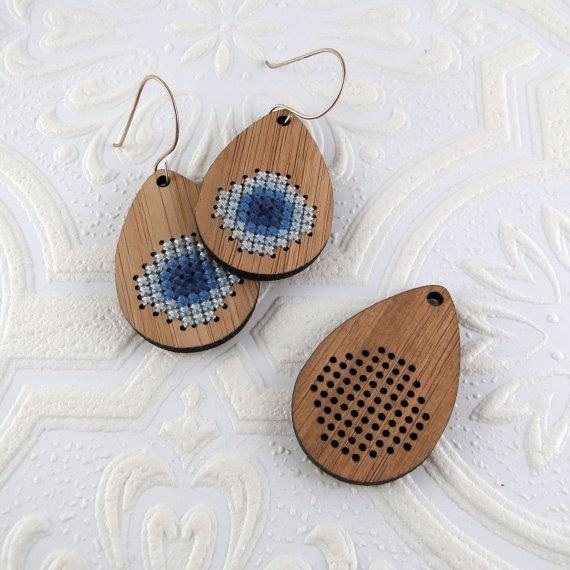 Cross stitch pendant blank drop with stitch-able circle by Beadeux