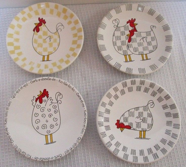 Small Decorative Plates Sets: Dillards Chicken Rooster Barn Animal Small Decorative