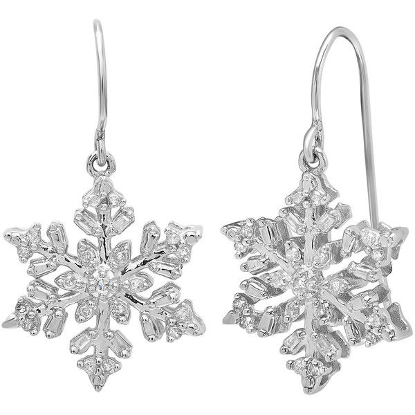 Diamond Accent Snowflake Dangle Earrings in Sterling Silver ($70) ❤ liked on Polyvore featuring jewelry, earrings, snowflake jewelry, snowflake earrings, sterling silver snowflake jewelry, sterling silver long earrings and diamond accent earrings