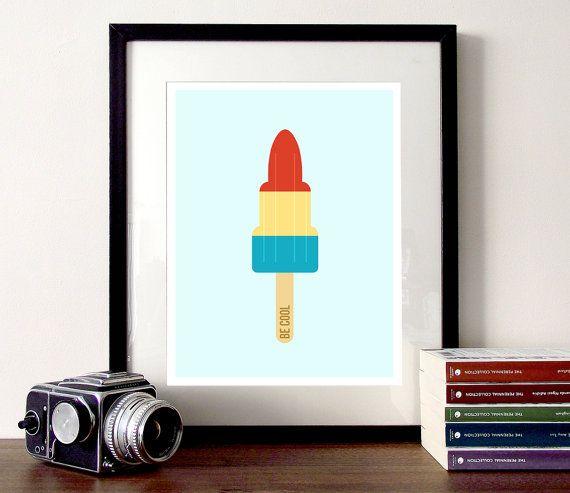Hielo ilustración crema, cohete paletas Ilustración, verano helado impresión, póster del polo de hielo, helado cotización impresión, ser citar cool, lindo