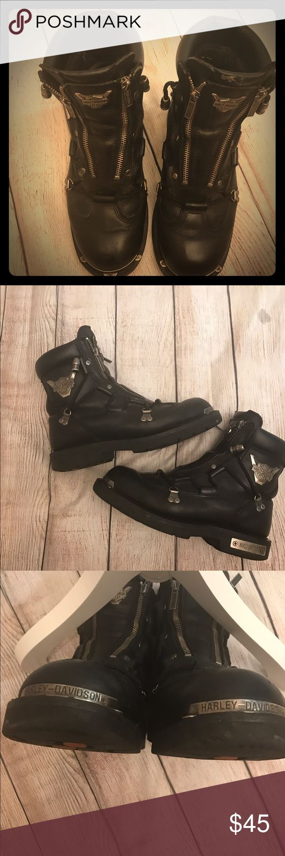 Men's Harley Davidson  Biker Boots 8.5 Men's Harley Davidson Brake Light Motorcycle /Biker Boots Sz 8.5 - Good Pre- Owned Condition - Minot Scuffing And Wear On The Souls- See Pictures Harley-Davidson Shoes Boots