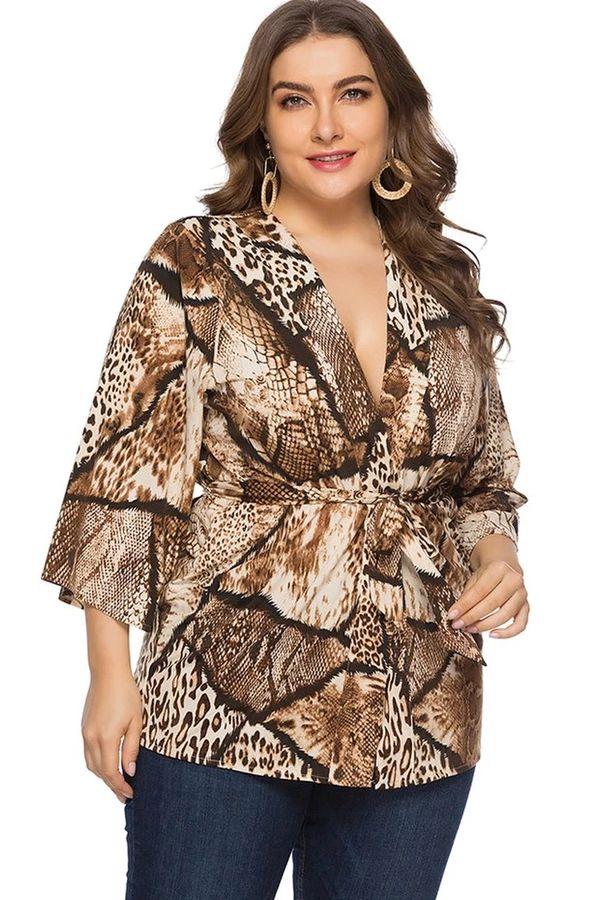 Plus Size Wrap Front Leopard Blouse
