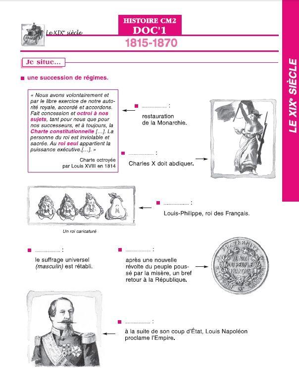 6 documents du fichier élève Doc's en Stock Histoire CM2 pour étudier le XIXe siècle.