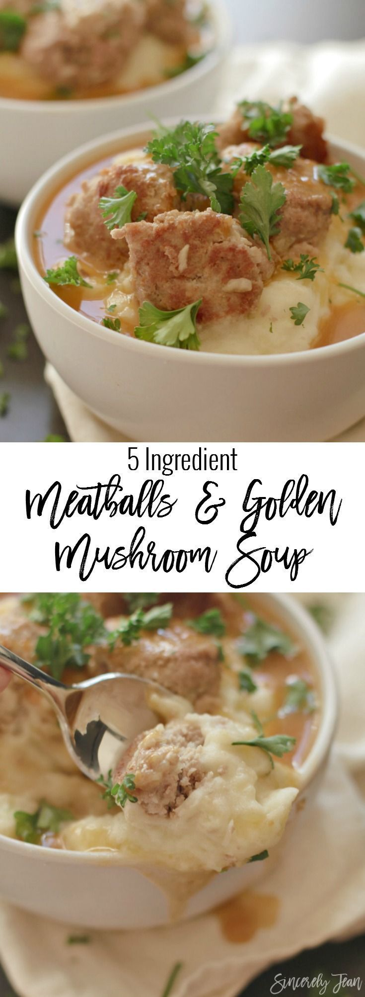 5 Ingredient Meatballs with Golden Mushroom Soup - The perfect quick and easy dinner recipe that your entire family will love! | www.SincerelyJean.com