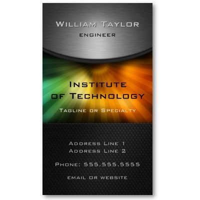 Professional customizable colorful hi-tech business card with metallic look details and spectral rays.Severe and elegant look. Pack of 100: $21.05 #business #tech