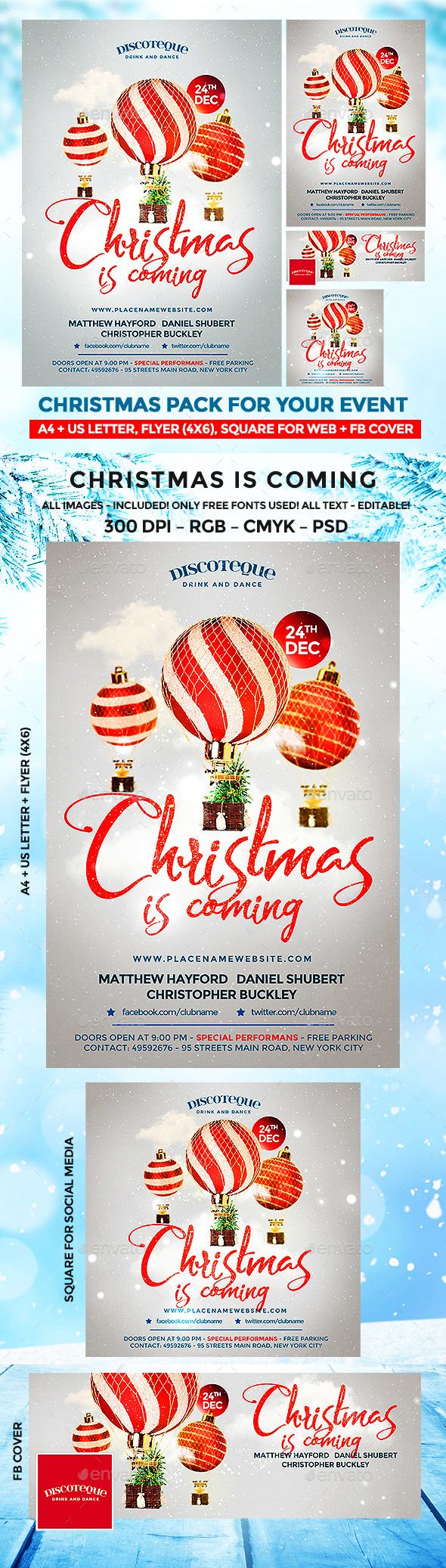 #Christmas - #Holidays #Events Download here: https://graphicriver.net/item/christmas-flyer/18842544?ref=alena994