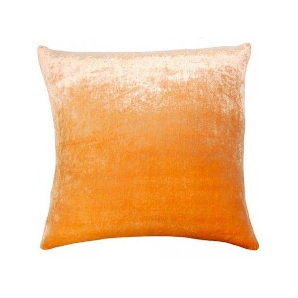 Square Feathers Coral Velvet Decorative Pillow ($450) via Polyvore Polyvore Pinterest ...