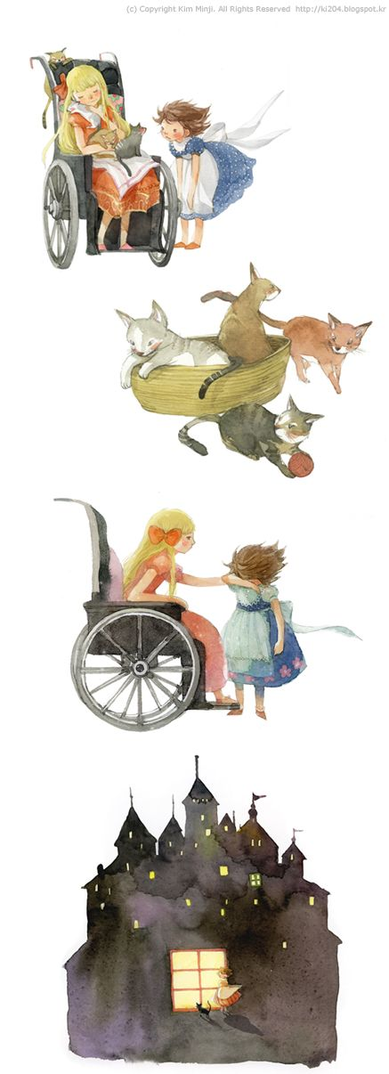 "Kim Min Ji, ""Heidi"" illustrations.  Heidi and Clara and the kittens. :)"