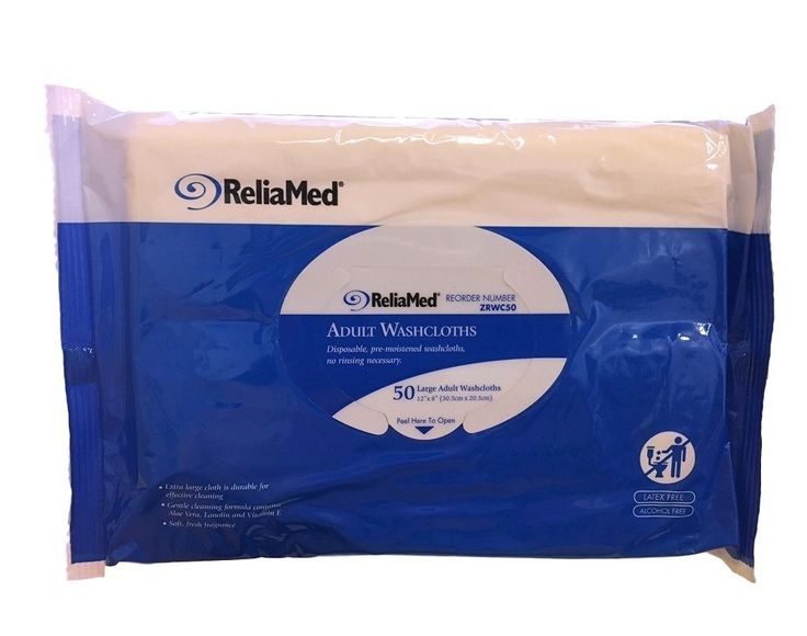 ReliaMed Adult Bath Wipe Disposable Washcloths Personal Adult Care Moist Wipes