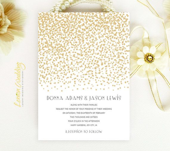 Starry Wedding Invitation | Gold stars simple modern wedding invite printed on luxury white pearlescent paper