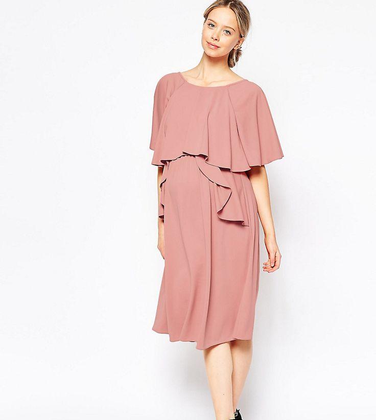 ASOS Maternity Full Soft Ruffle Midi Dress - Purple