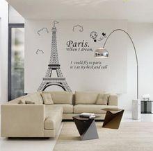 Muurstickers Parijs De Eiffeltoren Woonkamer Slaapkamer TV Sofa Achtergrond Wanddecoratie Verwijderbare PVC Stickers Gratis Verzending(China (Mainland))