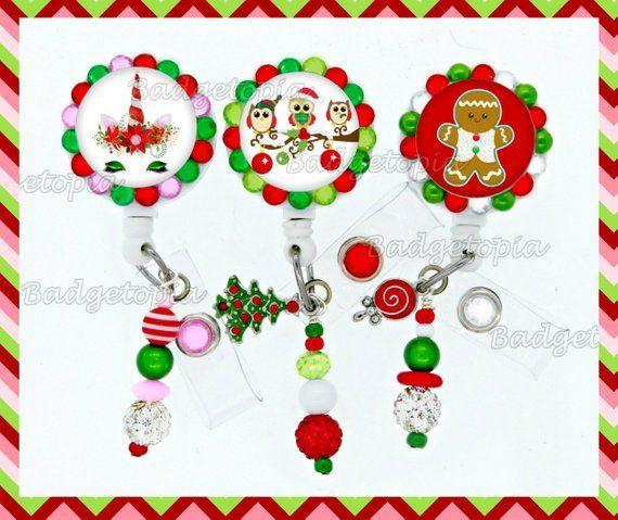 Reindeer Badge Reel Glitter Badge Holder,Christmas ID Holder Set of 1 ID Badge Holder,Medical Id Badge,Christmas Badge Reel