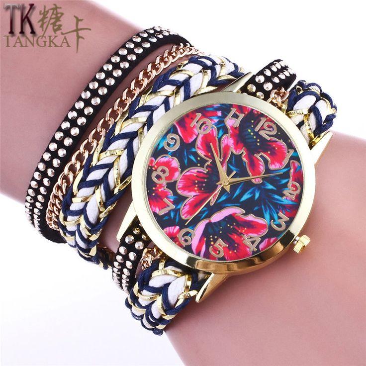 New Gold woman bracelet watch FashionGirls retro flowers clock leather strap casual ladies quartz watch relogios feminino
