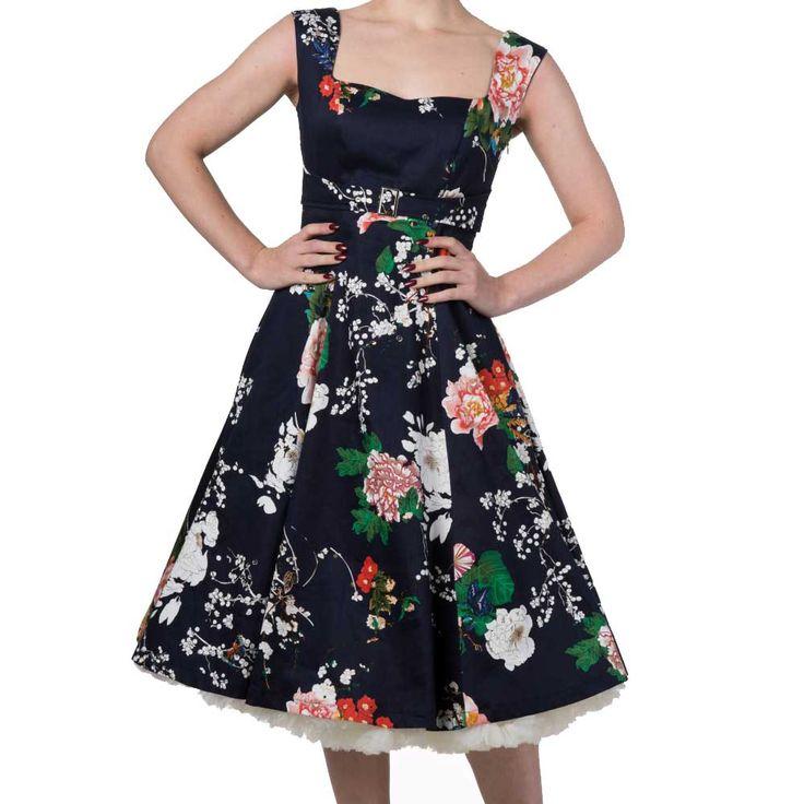 Moments jurk met bloemen print zwart - Vintage Retro Rockabilly