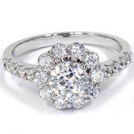 2.15 cttw hakiki elmas Halo nişan yüzüğü 14 Ayar Beyaz Altın (Enhanced değil)