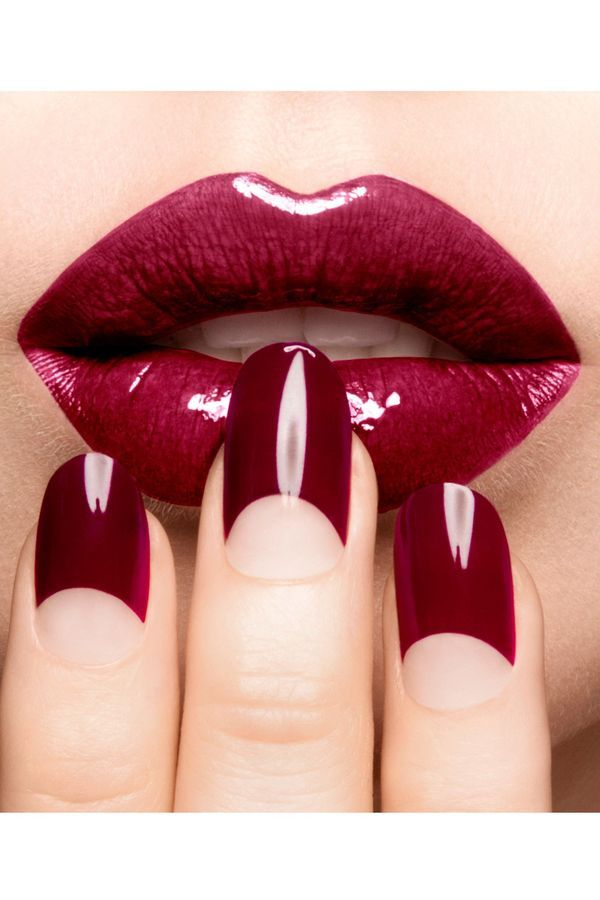 Vampy red half moon manicure
