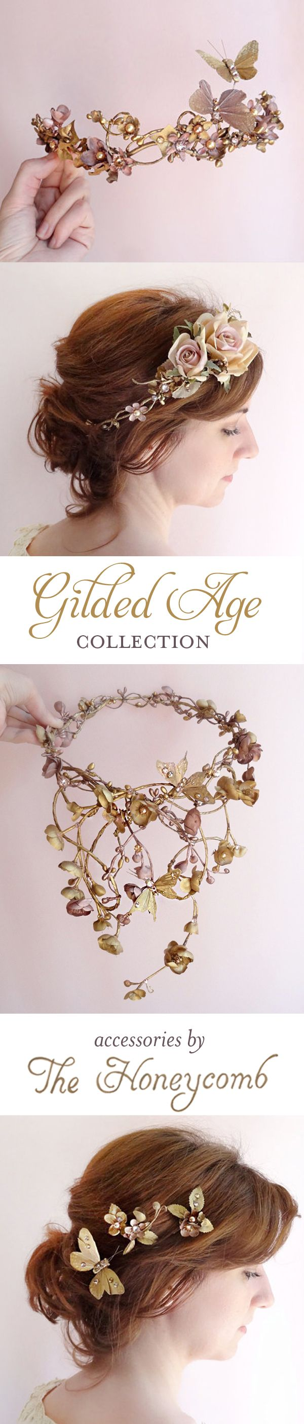 Bronze metallic hair accessories with gilded butterflies and Swarovski crystals and pearls. Luxurious statement headpieces for couture weddings, by The Honeycomb: http://thehoneycombshop.com/product-category/gilded-age/