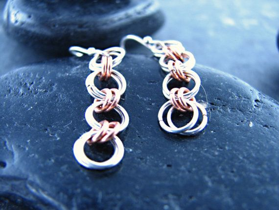 Silver and Copper Four Link Chain Earrings by melmacdesigns, $20.00