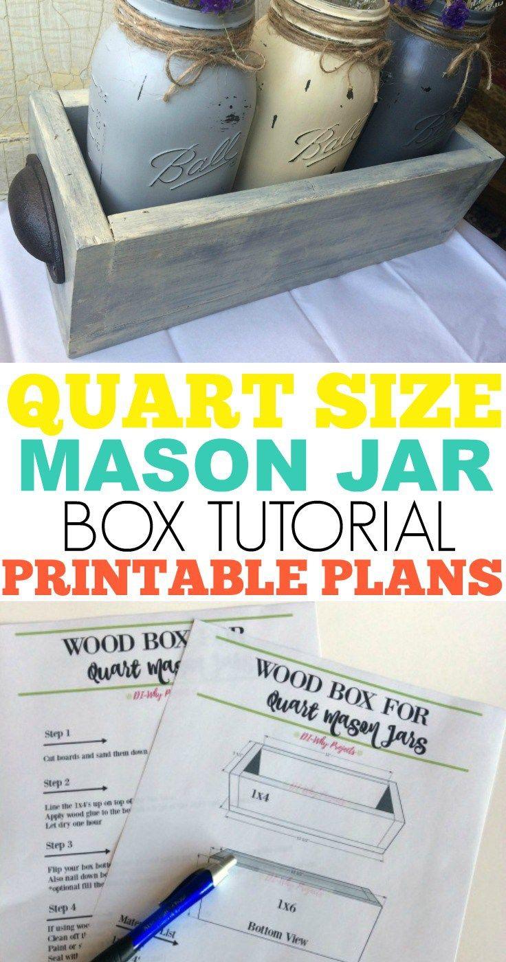Quart Size Mason Jar Box Tutorial with Printable Plans. Great mason jar gift idea, mason jar crafts, beginner woodworking project. #masonjar