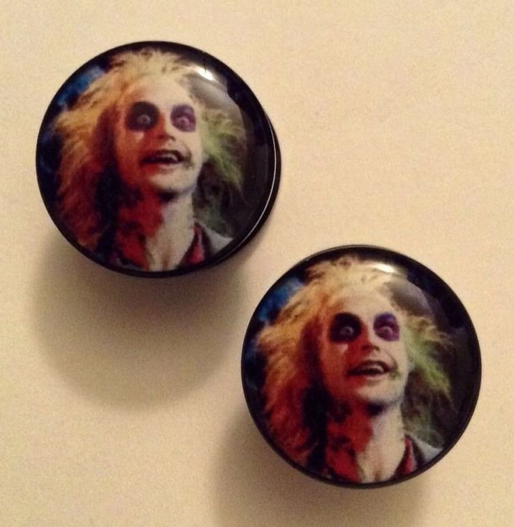 1 Pair / Set of 6 mm (2 gauge) Beetlejuice Acrylic Plugs #plugsforsale #halloween #horror #ear #piercing #stretching #modification #expanding #bodyjewelry #plug #expanders #gauge #body #jewelry #plugs #gauges #piercings #plugsforlife #expander #emo #goth #beetlejuice #beetlejuicebeetlejuicebeetlejuice #lydia #ghostwiththemost #ghost #haunted #undead