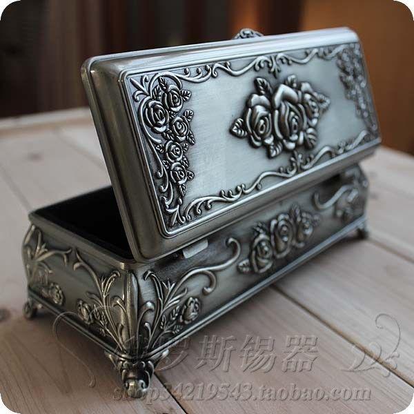vintage rose pewter jewelry box