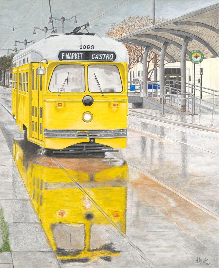 "Old timer San Francisco Tramcar making it's way down Market Street on a wet San Francisco day. Medium: acrylic on 24"" x 30"" canvas."