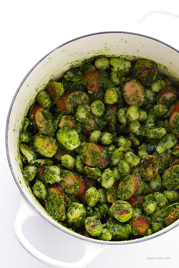 Gnocchi with Brussels Sprouts, Chicken Sausage and Kale Pesto | gimmesomeoven.com