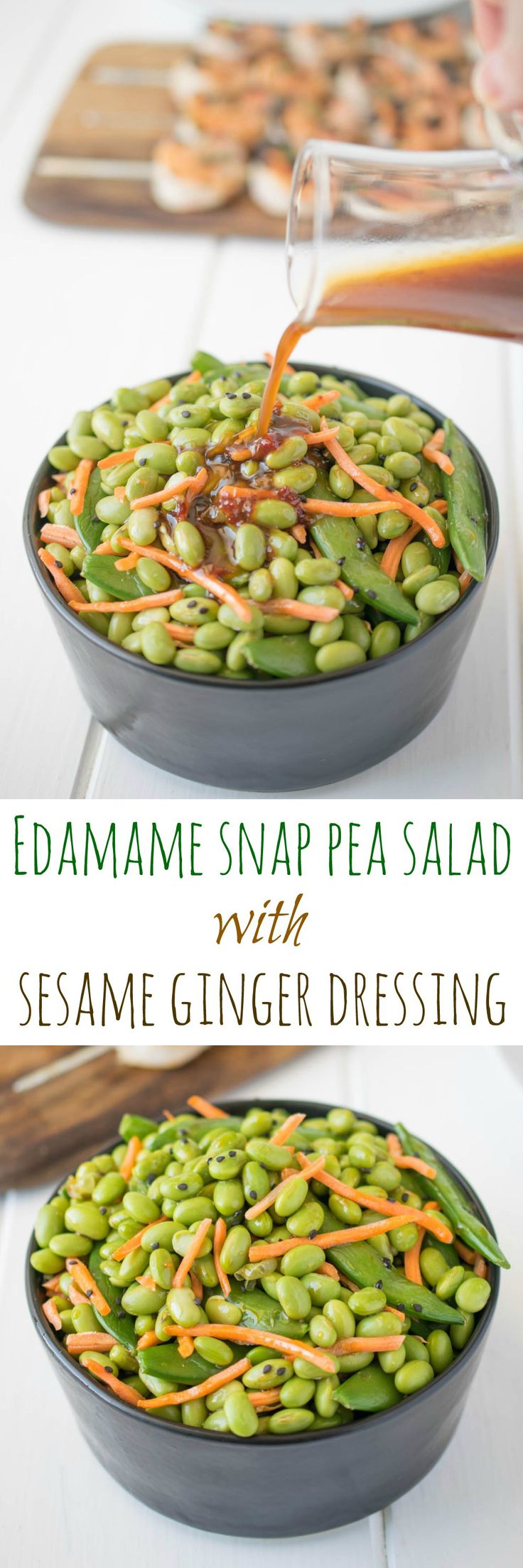 Edamame snap pea salad with sesame ginger dressing