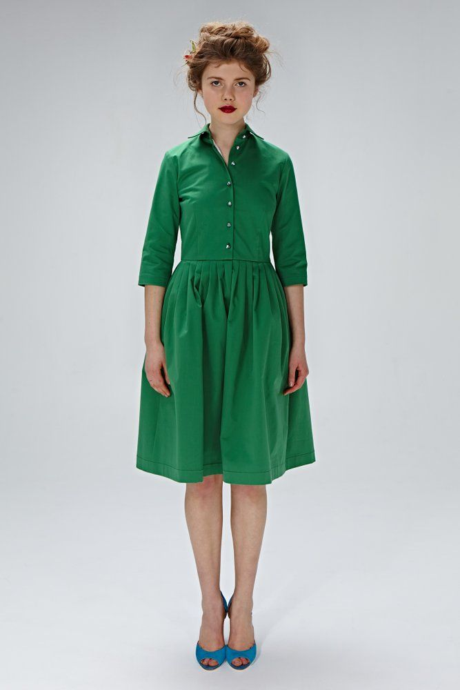 """This flattering button down """"Cora"""" dress is a classic 1950s style, handmade from a stunning green, Liberty of London fabric. This chic shirtwaist..."""