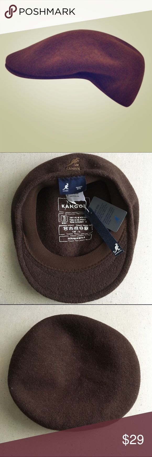 Dark Brown Wool Kangol Cap-NWT New with tags.  Dark brown 100% wool Kangol classic ivy cap or the 504.  Wool hats are warm, breathable, and durable. Has an elasticized cotton sweatband for a more comfy fit.  Has the Kangol kangaroo logo on the back. Size Small says it fits ages 2-4. Super cute Kangol Accessories Hats