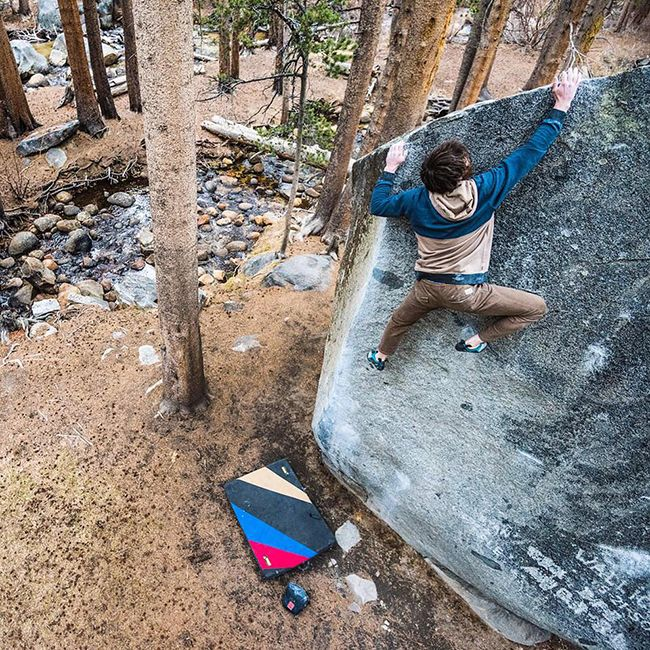 Escaping the hustle and bustle of city life. Tribesman Jimmy Webb. Mono County, CA. Photo by Ken Etzel. #surfandstone #hippytreetribe #climbing #bouldering #nature #outdoors