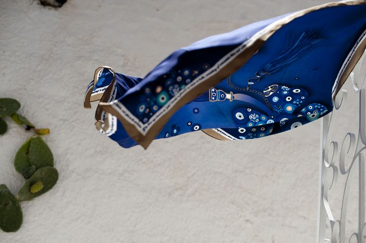 Evil Eye silk scarf  specially designed for LIANA VOURAKIS  by grecian chic, elena zournatzi