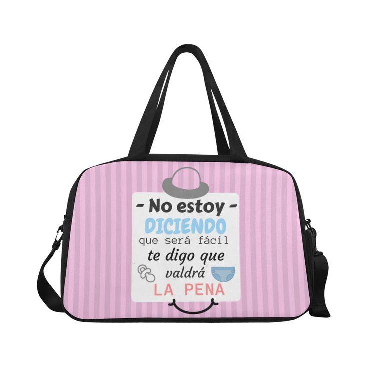 """Bolso maternidad para pañales """" No estoy diciendo que será fácil te digo que valdrá la pena"""" en rosa"""