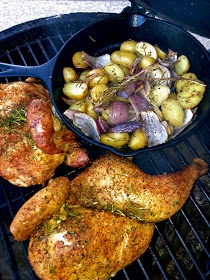 The Bee Cave Kitchen : Rosemary & Garlic Grilled Chicken & Skillet Potatoes on the Big Green Egg