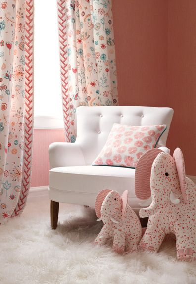 LOVE the fabrics and coordinating trims! Maybe for a little girl nursery...