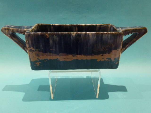 """33cm x 9cm Vintage 1936 John Campbell Australian Pottery Blue White 8"""" Planter Vase   eBay"""