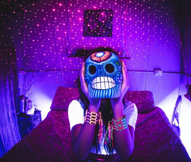 Day of the dead Mexican sugar skulls. Handmade by indigenous tribes in Mexico. One off pieces. Glow in UV light.