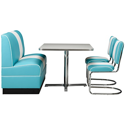 I'd need another room to put this in...but love this look! Retro furniture that will bring the look of American diners and bowling alleys of the 1950s and 60s right into your home -great for kitchens, games rooms, studies, or even children's bedrooms. Fun and funky, strong and durable, each piece contains elements handmade by skilled craftsmen...
