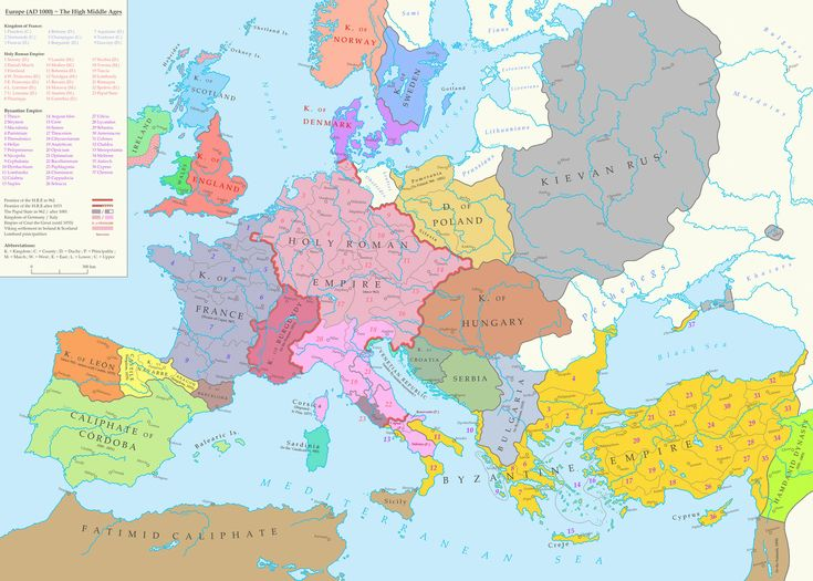 Map of Europe during the High Middle Ages (1000 A.D) [1600 × 1143]