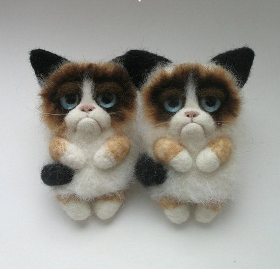 Hey, I found this really awesome Etsy listing at https://www.etsy.com/listing/237268999/grumpy-cat-brooch-needle-felting