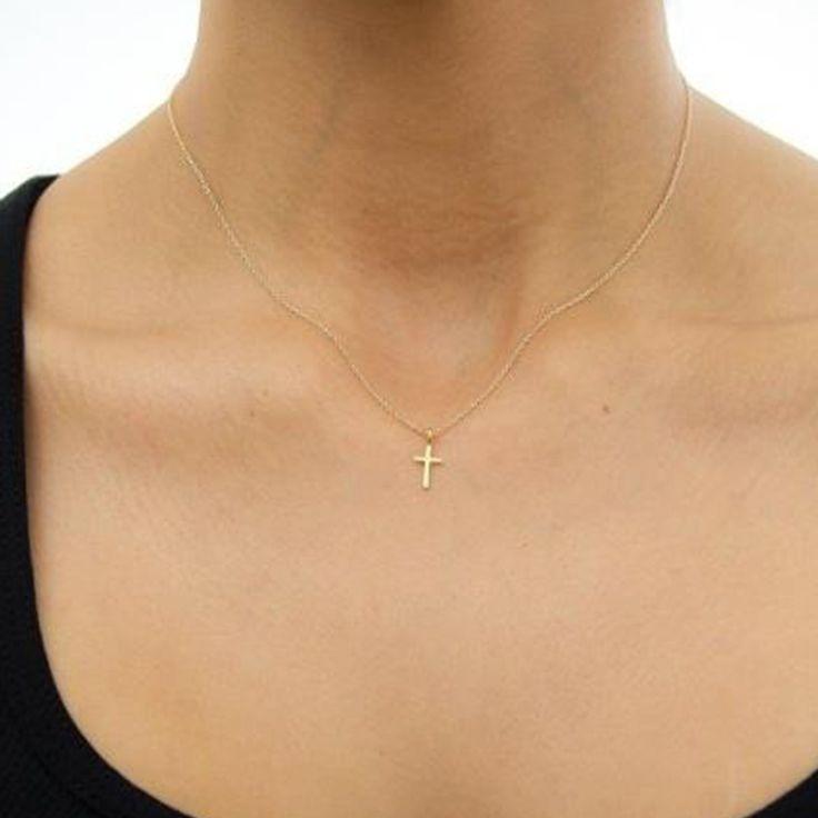 Chapado En Oro de Joyería de moda Las Mujeres Collar de la Espoleta de Cross Charm Cadena de La Clavícula Collar XL004