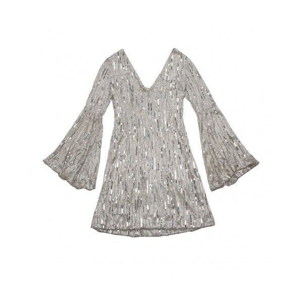 pamella roland Clothes Silver Bugle Bead Sequined Dress - StyleCaster ❤ liked on Polyvore featuring dresses, tops, beaded dresses, sequin cocktail dresses, beading dress, silver cocktail dresses and silver beaded dress