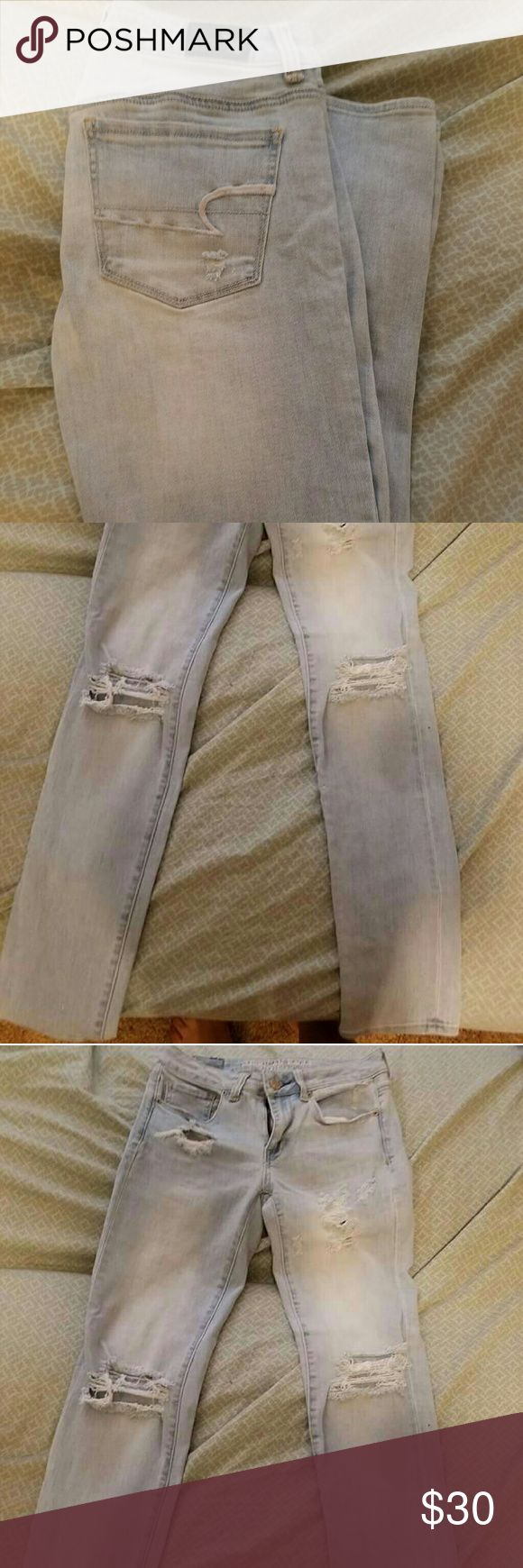 American Eagle Jeans Worn once, I'm a size 2 or 4 in AE jeans depends oh the jeans but I order them online and its a hassle to return since we don't have AE store at the mall American Eagle Outfitters Pants Skinny