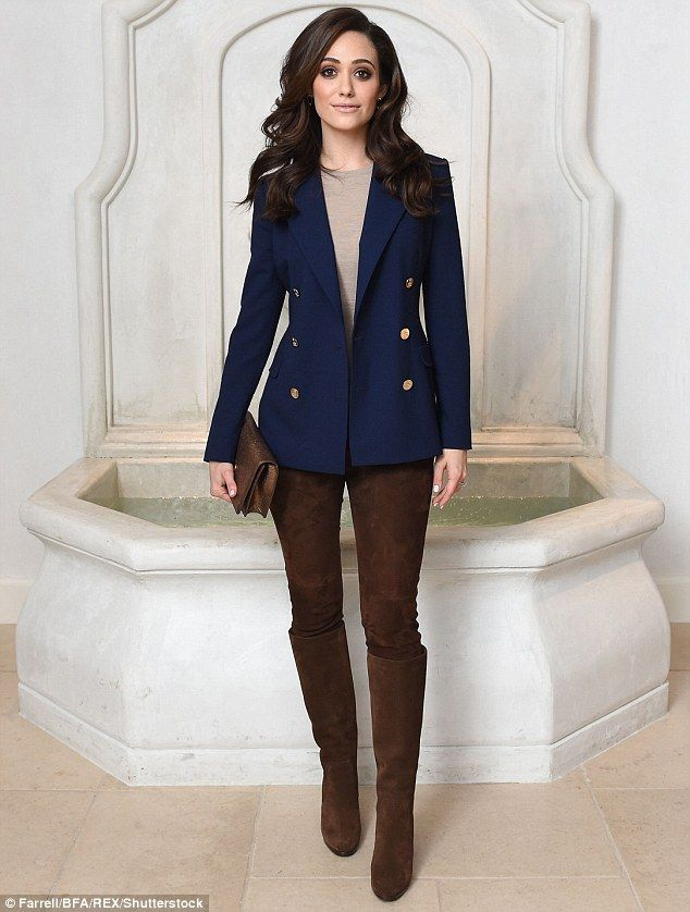 Preppy: Emmy Rossum went for an equestrian inspired look at the Ralph Lauren and Vogue: Ce...